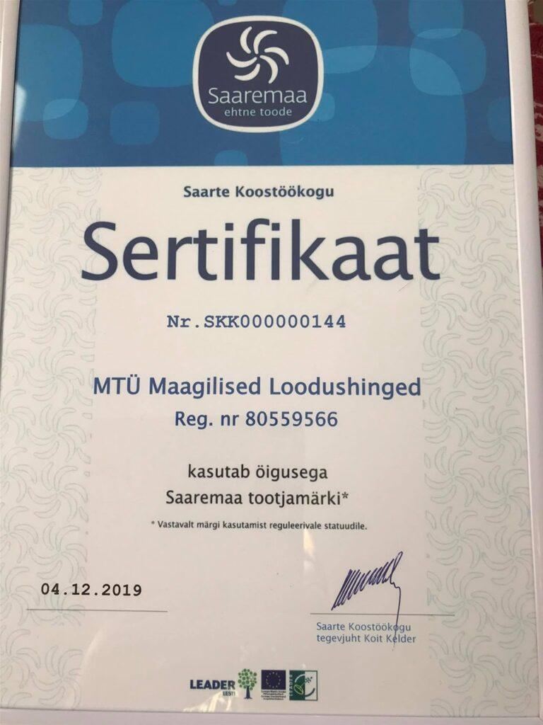 Sertifikaat, Saaremaa tootjamärk 2019