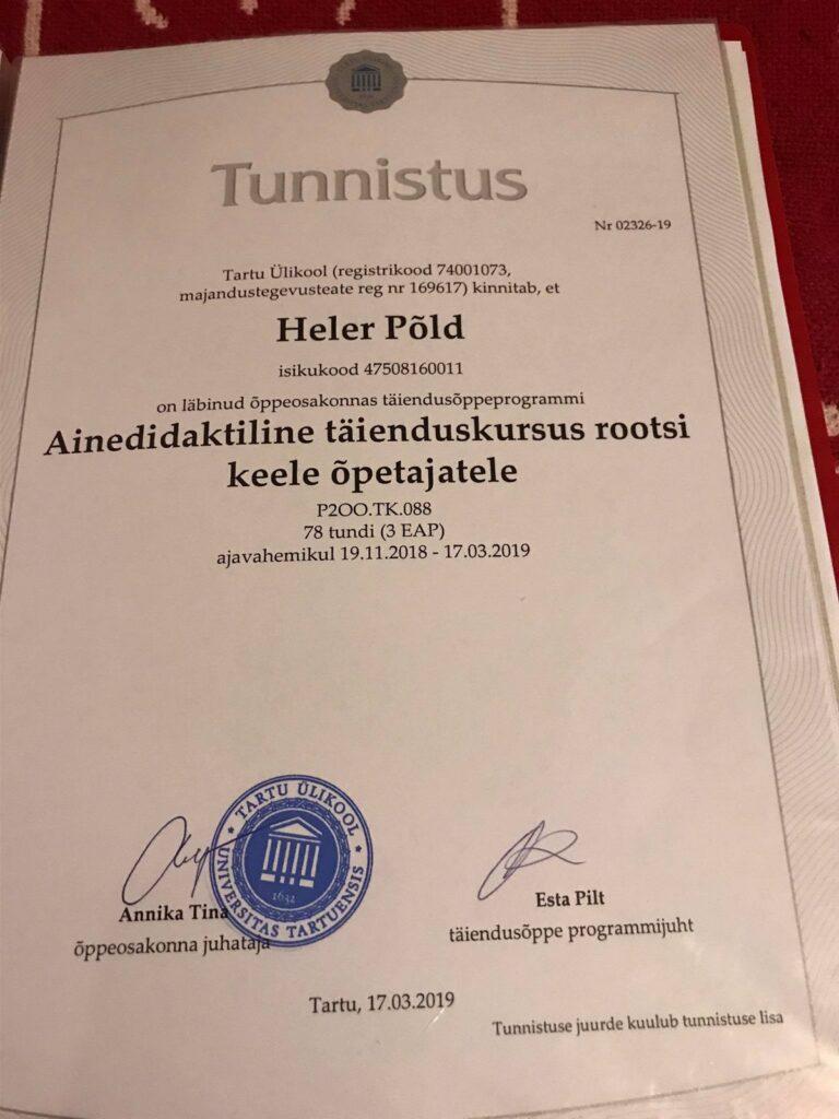 Tartu Ülikool, Rootsi keel õpetajatele, 78h, 3 EAP, 2019